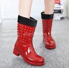 NEW Warm Mid Calf Rain Boots Fur Lined Women Pull On Rivet Block Heel Snow Boots