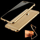 Shockproof Silicone Metal Bumper Clear Back Soft Case Cover For iPhone 6/6S Plus