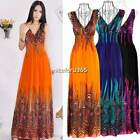 Sexy Women Summer Peacock Boho Long Maxi Evening Party Dress Beach Sundress Sexy