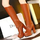 Elegant NEW Womens Platform High Heel Side Zip Knee High Boots Party Shoes Boots
