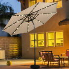 10ft Patio Solar Umbrella Led Patio Market Steel Tilt W/ Crank Outdoor New