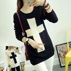 Cross Graphic Womens Color Block Pullover Acrylic Ribbed Sweater Jumper Knitwear
