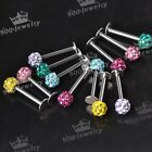 1pc 16G Stainless Steel Disco Ball Crystal Barbell Monroe Labret Lip Ring Stud