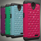 Protective Hybrid Armor Cute Diamond Bling Phone Cover Case for ZTE Avid Plus