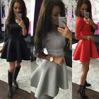 Womens Skirt Dress Ladies Evening Party Mini Skater Dress 3/4 Sleeve Cocktail