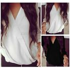 Womens Loose V Neck Long Sleeve Solid Wrap OL Work Top T Shirt Casual Blouse Tee