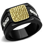 Gold EP Top Black Plated Six Square Side CZ Stones Mens Ring