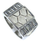 Honeycomb Top Design Ten Long CZ Stones Silver Stainless Steel Mens Ring