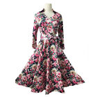 Women's  Vintage Floral  Print Rockabilly Maxi Cocktail Pinup Evening Dress 1157