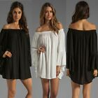 Fashion New Women The Word Shoulder Chiffon Loose Long-Sleeved Dress