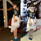 2015 Fashion High Quality Women Front Short Back Long Skirt Party Dovetail Dress