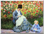 Camille and Child in the Garden Claude Monet Stretched Canvas Art Print Repro
