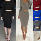 Simplee Two Piece Knitted Women Sexy Bodycon Crop Tops Skirt Celebrity Dresses