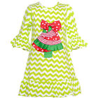 Counting Daisies Little Girls Lime Chevron Christmas Tree Applique Dress 2T-6X