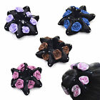 Women Velvet Roses Flower Scrunchie Bun Garland Hairband Ponytail Holder Fashion