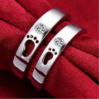 Lover's CZ Footprint Couple New Rings Silver Titanium Steel Wedding Promise Band