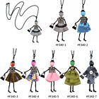 Fashion Doll Pendant Necklace Multicolor Charm Women Girl Sweater Chain Handmade