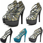 Ladies Women's High Heel Diamante Beaded Fashion Wedding Crystal Sandel Shoes