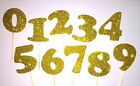 Gold Glitter Number Anniversary Birthday Graduation Party Cupcake Topper Favor