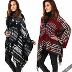 Womens Hooded Fringed Aztec Poncho Warm Knitted Cape Cover Up Wrap