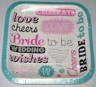 NEW PAPER PARTY PLATES 15 CT Bride to Be Bachelorette 6.75""