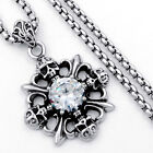 Mens Silver Gothic Skull CZ Stainless Steel Pendant Box Chain Necklace Jewelry
