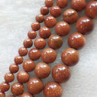 Wholesale 6/8/10/12mm Gold Sand Stone round loose beads 15.5inch YSZ07