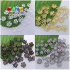 200 pcs 5-leaf Hollow Flower End Beads Caps Silver Plated etc. Pick Color 8mm