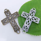 5/10 Tibetan Silver Cross Flower Charm Pendants Curved Connector Beads 42mm P230