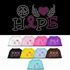 Peace Love Hope Breast Cancer Rhinestone Dog Shirt Pet Clothes Apparel Tee BLING