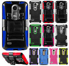 Cricket LG Risio Combo Holster HYBRID KICKSTAND Hard Rubber Cover +Screen Guard