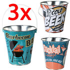 3 X ICE BUCKET METAL TIN DRINKS PARTY BARBECUE CHAMPAGNE BOTTLE COOL WINE BEER