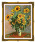 Vase with Sunflowers Claude Monet Framed Flowers Painting Reproduction Wall Art