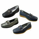 Annabelle Comfort Plus Leather Flat Slip On Casual Work Wide Fitting EEE  Shoes