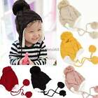 Baby Infant Crochet Knit Ear Flap Beanie Hanging Ball Thicken Cap Hats N4U8