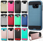 For Samsung Galaxy S7 Brushed Metal HYBRID Rubber Case Phone Cover +Screen Guard