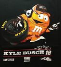 Kyle Busch Tshirt Nascar M&M's Orange Color Design Mens Adult Shirt New
