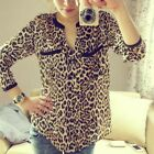Women Leopard Print Long Sleeve Chiffon Shirt Slim Casual Blouses Reliable
