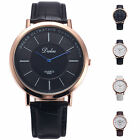 Dalas Luxury Men's Women's Rose Gold Case Quartz Leather Strap Wrist Watch