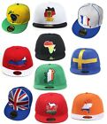 Country Flag Snapback Baseball Caps: Germany / UK / Sweden / France, Ireland etc