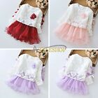 Baby Girl Toddler Long Sleeve Lace Tops Birthday Wedding Christening Party Dress