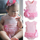 Baby Girls Casual Pink Lace Romper Jumpsuit Triangle Bodysuit Clothing Outfits