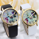 UK Fashion Women Watches Vases Dial Leather Band Quartz Analog Wrist Watch Cheap