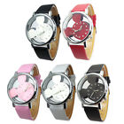 Classical Mickey Mouse Hollow Dial Watch Leather Band Kids Girls Wristwatch Gift
