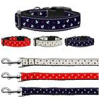 Nautical Anchors Nylon Dog or Cat Collar Pet Puppy Adjustable D-Ring LEASH