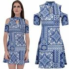 Ladies Turtle Neck Cut Out Cold Shoulder Paisley Bodycon Flared Skater Dress