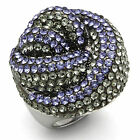 Snaked Multi-Color Stones Silver White Gold EP Hematite Ladies Paloma Ring