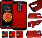 For LG K7 / Tribute 5 HARD & SOFT RUBBER HYBRID IMPACT LAYER COVER CASE DARK RED