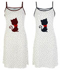 LADIES WOMENS NIGHTIE NIGHT DRESS STAR KITTY STRAP NIGHTIE UK 8-18 BNWT