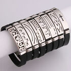 1x Jewelry Wristband Different Pattern Black Silicone Stainless Steel Bracelet L